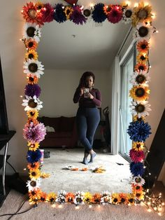 DIY Floral Mirror - just need a mirror, hot glue gun, and a bunch of flowers