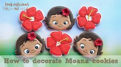 Video tutorial on how to make and decorate Moana cookies with royal icing. These cookies will be great for a Moana party 😍🌺 I will be posting a series of Moa. Paint Cookies, Fondant Cookies, Baby Cookies, Royal Icing Cookies, Birthday Cookies, Cupcakes, Baby Moana, Moana Cookies, Moana Party Decorations