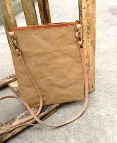 Kraft fabric paper ipad zipper bag with detachable by Belltastudio