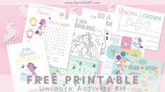 Free Printable Unicorn Activity Kit Unicorn Printables, Free Printables, Fun Crafts, Crafts For Kids, Baby Sensory Play, Kids Playing, Coloring Pages, Activities For Kids, Diy Projects