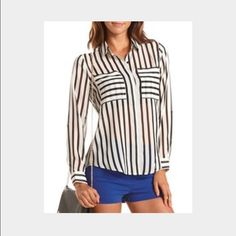 Striped Button Up Blouse Striped button up blouse with double chest pockets and can be rolled up. Worn and washed once. In excellent used condition! Fits true to size medium. Charlotte Russe Tops Button Down Shirts