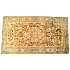 Vintage Persian Hamadan Oriental Rug in Small Gallery Size with Soft Earth Tones | From a unique collection of antique and modern persian rugs at https://www.1stdibs.com/furniture/rugs-carpets/persian-rugs/