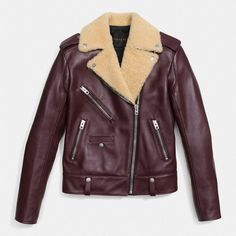 Coach Boys Biker Jacket ($1,795) ❤ liked on Polyvore featuring outerwear, jackets, red, leather biker jacket, leather moto jacket, purple motorcycle jacket, heavy leather jacket and red leather jacket