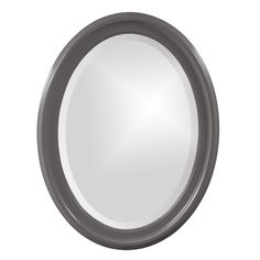 "Howard Elliott George Glossy Charcoal Oval Mirror 25"" x 33"" x 1"""