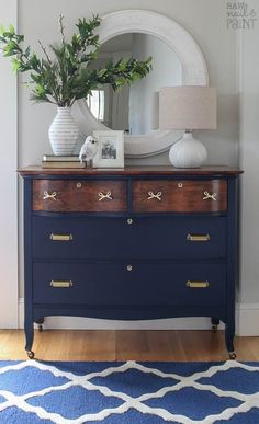 "This dresser received a stunning makeover with GF Coastal Blue Milk Paint, Antique Walnut Gel Stain and High Performance Topcoat by Susan of Saw Nail and Paint. Susan says, ""I definitely had to go the extra mile to bring this dresser back to life, but I am so happy with the results."" Get all the details of this project at check out the before picture at http://www.sawnailandpaint.com/2017/02/20/serpentine-dresser-makeover-navy-brass/"