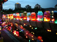Tissue paper jars for colorful night lanterns.