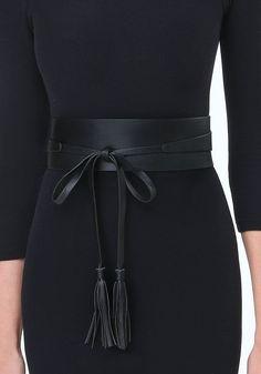 Tassel Leather Obi Belt at bebe