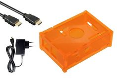 Coque/Boitier de protection + Alimentation 2000mA! + Cable HDMI pour Raspberry Pi Type B (orange)
