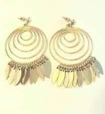 Vintage Gold Tone Metal Alloy Studded Dangle Earrings