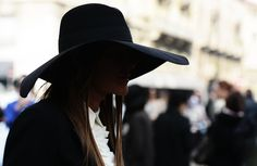 Beautiful black wide brimmed felt hat.