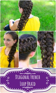 Diagonal French Loop Braid... video tutorial and more pics...  #hairstyle #hairstyles #cutegirlshairstyles #CGH #frenchbraid #braid #CGHfrenchloopbraid