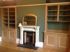 Fitted alcove storage, unpainted wood sitting flush to picture rail Alcove Storage, Alcove Shelving, Alcove Bookshelves, Book Shelves, Alcove Cabinets, Picture Rail, Victorian Terrace, Street Furniture, Living Room Pictures