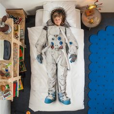 Astronaut print duvet set Blast off. This brilliant cotton duvet set will take his dreams to the stars and beyond, and make him the envy of his friends. Duvet cover: x - fits a standard single quilt; Pillowcase: 50 x - fits standard pillow. Astronaut Suit, Astronaut Costume, Duvet Sets, Duvet Cover Sets, Pillow Covers, Bed Covers, Pillow Set, Country Look, 100 Cotton Duvet Covers