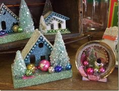 vintage Christmas decor/ glittered covered house & trees