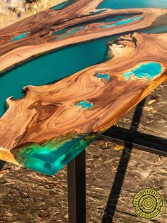 Turquoise resin dining table with glowing inlay - Turquoise resin dining table . - Turquoise resin dining table with glowing inlay – Turquoise resin dining table with glowing inlay Wood Resin Table, Epoxy Resin Table, Resin Table Top, Diy Dining Room Table, Furniture Dining Table, Table Bench, Dining Tables, Coffee Tables, Live Edge Furniture