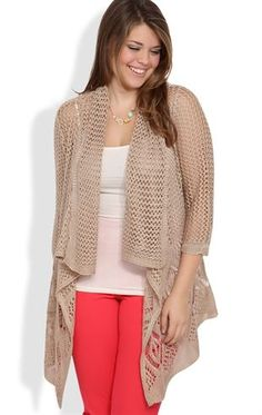 Plus Size Open Stitch Sweater Cozy with Three-Quarter Length Sleeves