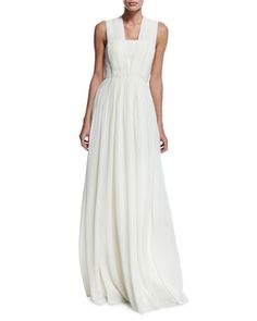 Sleeveless Square-Neck Gown, Ivory by Badgley Mischka at Neiman Marcus.