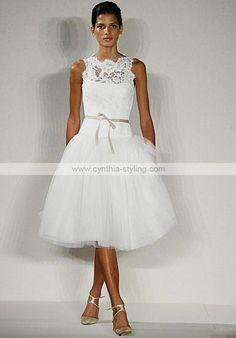 Romantic modern lace tulle satin bateau knee-length wedding bridal evening dress D1035_ - Cynthia Prom Gown Online Shop