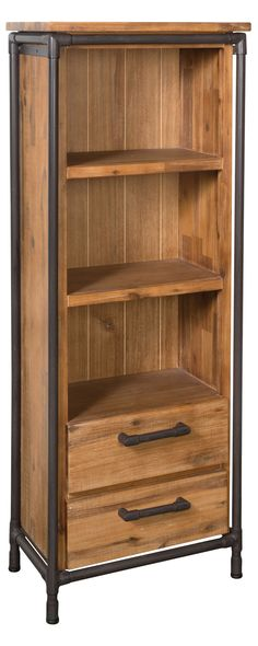 With three open-front shelves, this Mission Multipurpose Cabinet is perfect for organizing books or holding dinnerware. Made from beautifully finished acacia wood, this rustic unit features black-finis...  Find the Mission Multipurpose Cabinet, as seen in the Fresh Industrial Style Collection at http://dotandbo.com/collections/fresh-industrial-style?utm_source=pinterest&utm_medium=organic&db_sku=117064