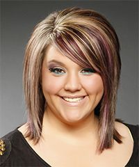 Formal Medium Straight Hairstyle-Medium to long layers are cut all through this multi-colored mane, then blow-waved smooth to achieve this fantastic shape. The crown is teased to add height and lift making this head-turning 'do perfect to compliment a round face. works on thin fine hair