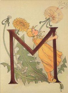 Ottilia Adelborg - Alphabet M Embroidery Alphabet, Alphabet Art, Illuminated Letters, Illuminated Manuscript, Lettering Design, Hand Lettering, Collage Book, Illustrations, Vintage Postcards