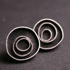 Modern sterling silver oxidized circle earrings