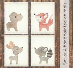 Set of 4 woodland animals watercolor canvas. Modern baby, rustic nursery, woodland nursery, watercolor prints, baby shower, nursery decor