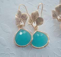 Glass Drop dangle earrings Turquoise earings Matt gold 3 leaves earrings with blue glass pendant Neon jewelry Spring earrings Gold earrings by 2010louisek7 on Etsy