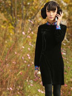 streamlined Chi-pao velvet dress #cutefashion #asianfashion #bohemian #folkstyle