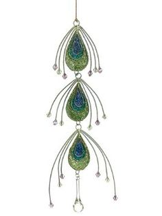 """Amazon.com: 11"""" Regal Peacock Teardrop Dangle Christmas Ornament with Jewel Accents: Home & Kitchen"""