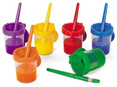 Lakeshore No-Spill Paint Cups & Brushes - 6-Color Set at Lakeshore Learning