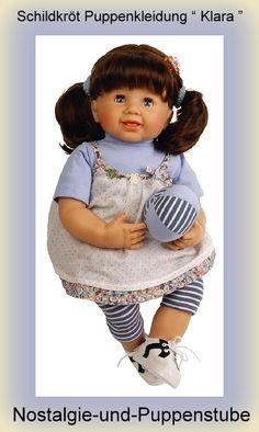 Schildkröt Puppenkleidung von Klara, Hängekleid mit Ringelleggins, 52 cm Puppen - Bild vergrößern