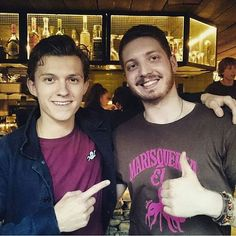"""""""So today Tom Holland @tomholland2013 (aka Spider-Man) visited my workplace where I was doing a cover! He was really cool and really nice as he waited for me to finish a table so that I could take a picture with him! Thank you Tom! You made my day!"""" - @bogd4n_m _ That's really nice! #TomHolland"""