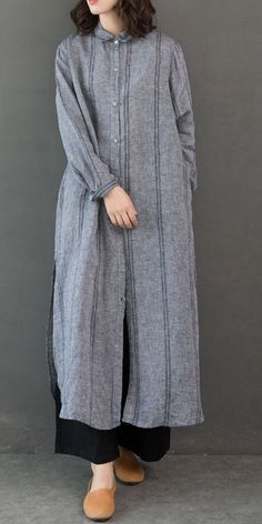 Vintage Loose Linen Long Shirt Women Casual Blouse - Women's style: Patterns of sustainability Casual Hijab Outfit, Casual Dresses, Casual Outfits, Long Shirt Outfits, Muslim Fashion, Modest Fashion, Fashion Outfits, Fashion Top, Fashion Ideas