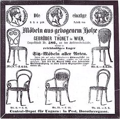 """The """"Neueste Nachrichten"""" of 19th March 1862, publishing the first ever advertisement for Thonet furniture."""