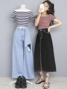 Pin on 服装 Korean Girl Fashion, Korea Fashion, Cute Fashion, Asian Fashion, 80s Fashion, Vintage Fashion, Kpop Outfits, Edgy Outfits, Korean Outfits