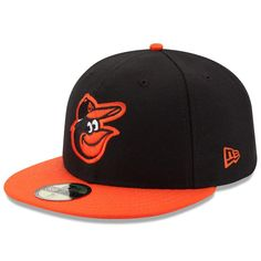 Baltimore Orioles New Era Road Authentic Collection On-Field 59FIFTY Fitted Hat - Black/Orange