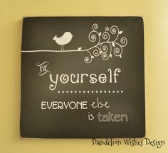 BE YOURSELF sign 8x8   perfect for a tween or teen girls bedroom! Customized colors available!