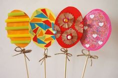 Paper Easter Eggs with different techniques frame - Diy Crafting Easy Easter Crafts, Egg Crafts, Easter Crafts For Kids, Diy And Crafts, Arts And Crafts, Coloring Easter Eggs, Easter Wreaths, Art For Kids, Diy Ostern