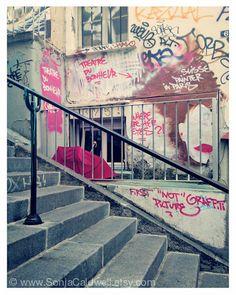 Items similar to Paris Photography - Latin Quarter - street, stairway. walkway, buildings, cream, slate blue - and larger - Original Fine Art Photograph on Etsy Latin Quarter, Sight & Sound, Paris Photography, Versailles, Bright Pink, Painting Inspiration, Graffiti, Street Art, Around The Worlds