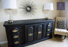 Black and Gold Dresser  Buffet  Changing Table Tv Stand by www.IndigoInteriors.etsy.com Indigo Interiors on etsy Painted Furniture in Austin TX
