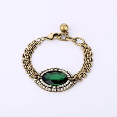 Classic Gold Alloy Chain With Emerald Green Pendant  - New In