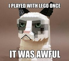 Funny pictures about Grumpy Lego. Oh, and cool pics about Grumpy Lego. Also, Grumpy Lego. Meme Grumpy Cat, Cat Memes, Funny Memes, Grumpy Kitty, Funniest Memes, Funny Quotes, Cat Quotes, Memes Humor, Farts Funny