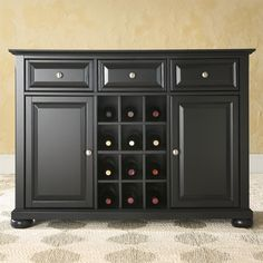 Black Wood Sideboard Buffet Server Table Dining Storage Cabinet – Hearts Attic