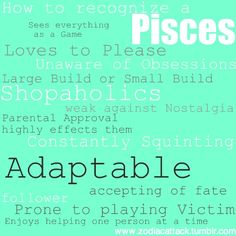 pisces- not a believer in zodiac stuff but a lot of this is strangely accurate, especially the squinting lol Pisces Love, Pisces Girl, Pisces Woman, Pisces Traits, Pisces Zodiac, Horoscope, Scorpio, Astrology Signs, Zodiac Signs
