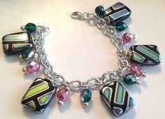 Eclectic Foil Bead Fringe Bracelet by JuicybitsJewelry on Etsy, $20.00
