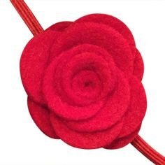 FUN 3-D Felt Rose Skinny Elastic Headband. Perfect for newborn and baby, but can be sized for older girls.