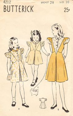RESERVED  1940's Girls' Frock or Dress with by BettieJoVintage