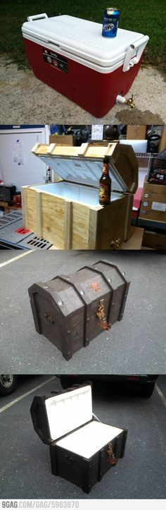 I will never do this, but.... How To Make A Treasure Chest Cooler! So cool ;)