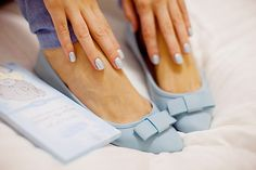 Pretty Pastel Blue Bow Flats and Nails.